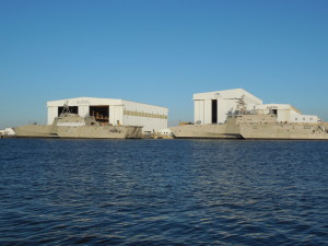 Austal USA facility on the Mobile River across from downtown Mobile